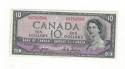 **1954 Devil's Face**Canada $10 Note,Coyne/Towers BC-32a, Ser# CD 0702506