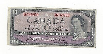 **1954 Devil's Face**Canada $10 Note, Coyne/Towers BC-32a, Ser# DD 6749950