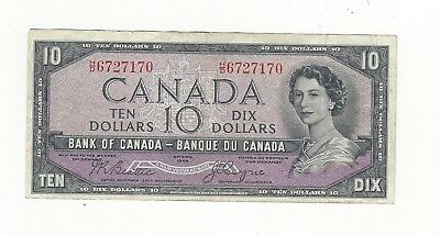 **1954 Devil's Face**Canada $10 Note,Beattie/Coyne BC-32b, Ser# HD 6727170