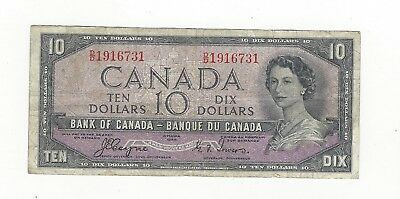 **1954 Devil's Face**Canada $10 Note, Coyne/Towers BC-32a, Ser# DD 1916731