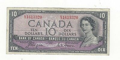 **1954 Devil's Face**Canada $10 Note, Coyne/Towers BC-32a, Ser# ED 1613320