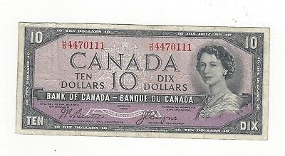 **1954 Devil's Face**Canada $10 Note,Beattie/Coyne BC-32b, Ser# HD 4470111