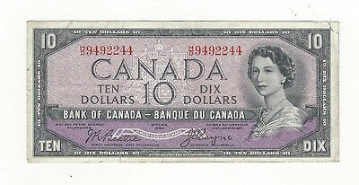 **1954 Devil's Face**Canada $10 Note,Beattie/Coyne BC-32b, Ser# HD 9492244