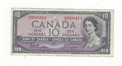 **1954 Devil's Face**Canada $10 Note,Beattie/Coyne BC-32b, Ser# HD 9900413