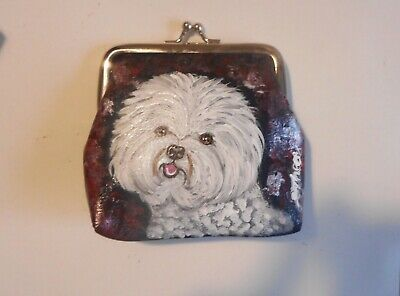 Bichon Frise dog Hand Painted Leather Coin Purse Mini Clutch wallet