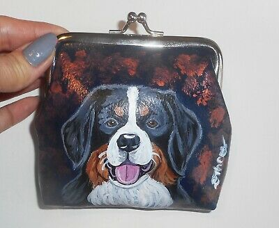 Bernese Mountain dog Hand Painted Leather Coin Purse Mini Clutch wallet