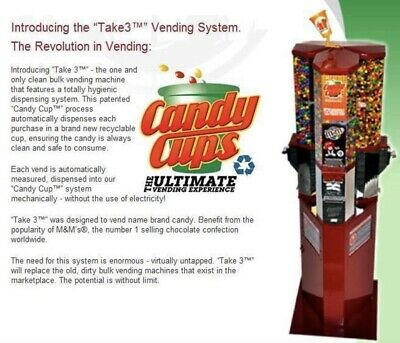 "Used ""Take3"" Candy CUPS vending machine"