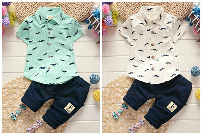 Toddler Kids Baby boys summer Clothes shirt & short Pants 2PCS outfits gentleman