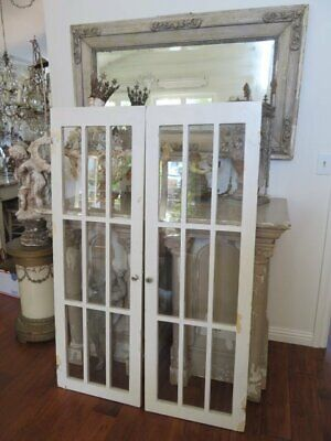 "PAIR FABULOUS Old Vintage Architectural WINDOWS 54"" Tall Chippy WHITE 9 Panes Ea"