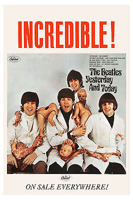 British: The Beatles * Butcher Cover * Capitol Ad Poster 1966 13 x 19