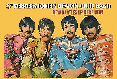 British: The Beatles * Sgt. Pepper * Beatles Record Store Window Card 13x19