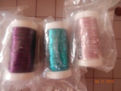 oasis wire 3 new spools 164 feet ea purple pink & turquoise floral or jewelry