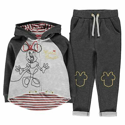 Minnie Mouse 2 Piece Jogging Set Girls Character Wear Grey Hoody Top Pants