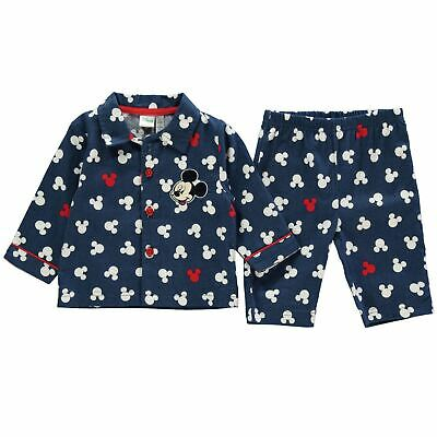 Mickey Mouse 2 Piece Woven Pyjama Set Baby Boys Character Wear Blue Pajamas
