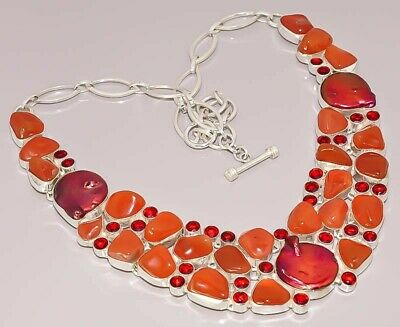 Natural Carnelian Garnet Quartz Jewelry 925 Sterling Silver Plated Necklace