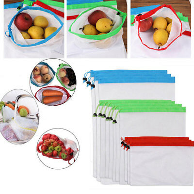 12PCS Eco Friendly Reusable Mesh Produce Bags Superior Double-Stitched Strength