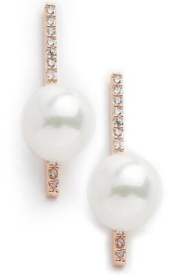 Shan & Co 18K Rose Gold Plated Pave Crystal Bar Pearl Stud Earrings
