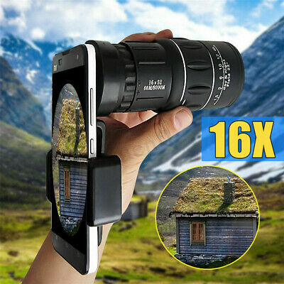 16x52 Monocular Telescope Lens Camera HD Scope Hunting Cell Phone Holder Mount