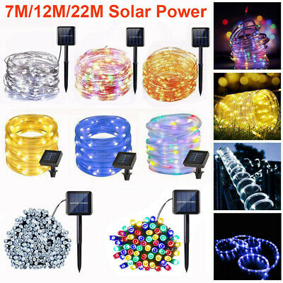 Solar Power 7/12/22M LED String Rope Fairy Lights Xmas Garden Party Outdoor Lamp