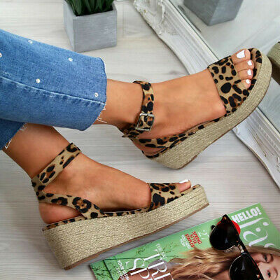 Womens Ladies Platform Sandals Wedge Espadrille Ankle Strap Comfy Summer Shoes