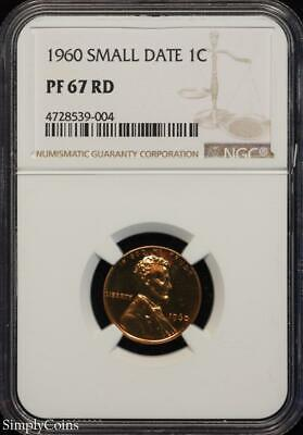 1960 Small Date Lincoln Memorial Penny ~ NGC PF67 RD ~ FROSTY PROOF! R8-539-004