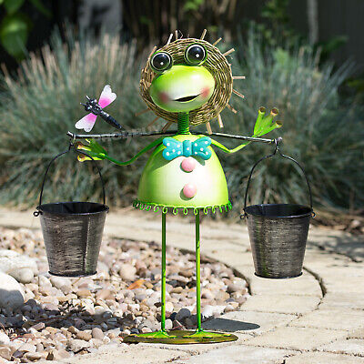 Frog with Buckets Metal Garden Lawn Ornament Statue Figurine Sculpture Planter