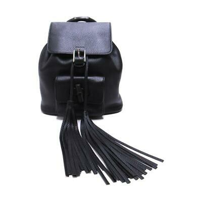 8763363143b8 GUCCI Fringe Bamboo Backpack rucksack bag 387149 Leather/canvas Black