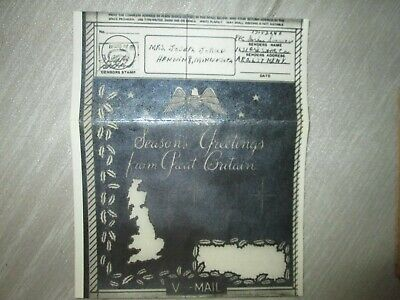 WW II Christmas Greetings V-Mail from Great Britain Original Card