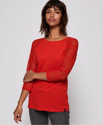 New Womens Superdry Embroidered L/S Ragl Scorched Red