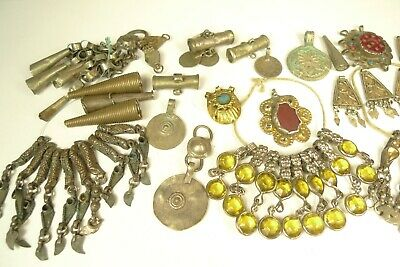 Large Lot Antique Silver Metal Ethnic Tribal Trade Beads + Pendants Lots Estate