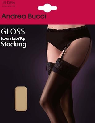 bfc35b05a43 Andrea Bucci by Marie Claire Gloss Stocking 15 Denier Stockings With Lace  Tops