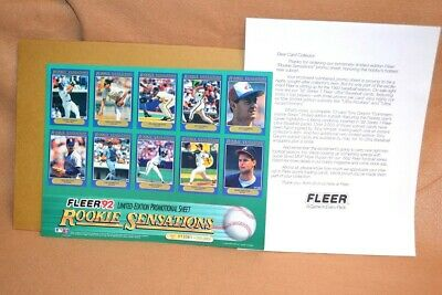 1992 Fleer Limited Edition Promotional Sheet of 20 MLB Rookie Cards Sensations