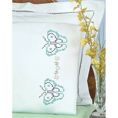 Jack Dempsey Stamped Pillowcases W/white Perle Edge 2/pkg-butterflies