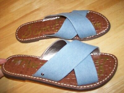 006240aa7 New Sam Edelman  Gertrude  Chambray Slide Mules Slip On Sandals Womens sz  8.5