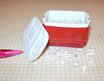 Miniature Red Resin Igloo Cooler Filled w/Loose Ice!  DOLLHOUSE 1:12