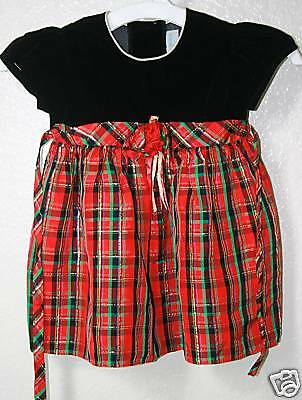 db02d41a8f94 CHANTILLY PLACE Holiday Occasions Tie Back Plaid Dress Baby Toddler Girl 12  M