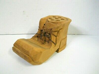 Rustic Primitive Hand Carved Wood Boot Pencil Holder Desk Decor Signed Canada