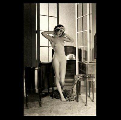 Vintage Erotic Flapper Girl Nude PHOTO French Door, 1920s AA Allen Boudoir Scene