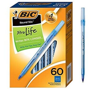 BIC Round Stic Xtra Life Ballpoint Pen, Medium Point (1.0mm), Blue, 60-Count