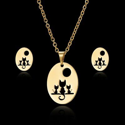 Gold Hollow Cat Necklace Chain Stud Women Stainless Steel Earrings Jewelry Set