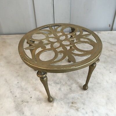 Antique circular brass fireside trivet pot stand