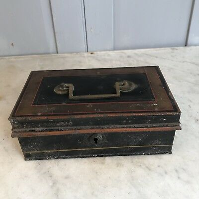 Antique Toleware cash tin or moneybox