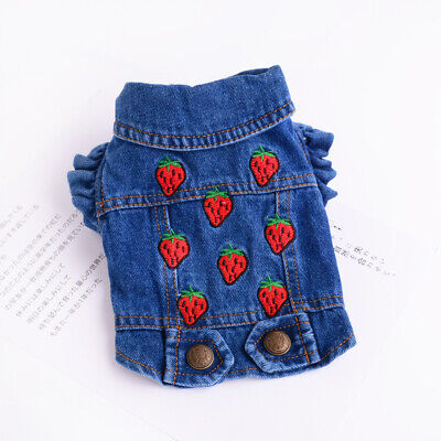 Embroidery Strawberry Dog Jacket Blue Jean Small Pet Poodle Coat Cat Pup Clothes