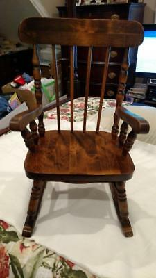 Antique Child Toddler Wooden Rocking Chair With Hidden Drawer
