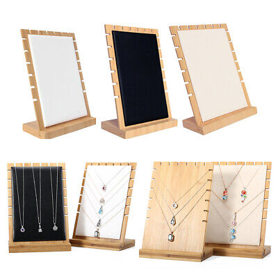 3×Multi-Tiered Chain Board Necklace Jewelry Display Stand, Black/White/Beige