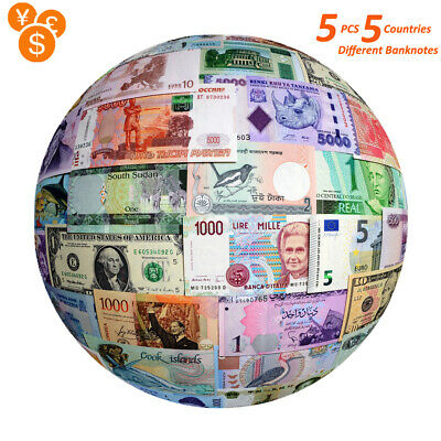5 PCS Genuine Different World Countries Banknotes Collection Lot Currency UNC