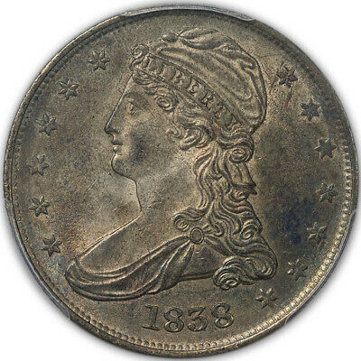 "1838 50C Reeded Edge Capped Bust Half Dollar ""HALF DOL."" on Rev PCGS MS63 (CAC)"