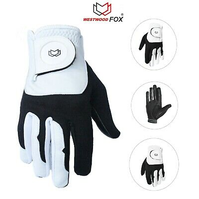 WFX Pack of 5 White/Black Men's Golf Gloves Soft Leather Palm All Weather