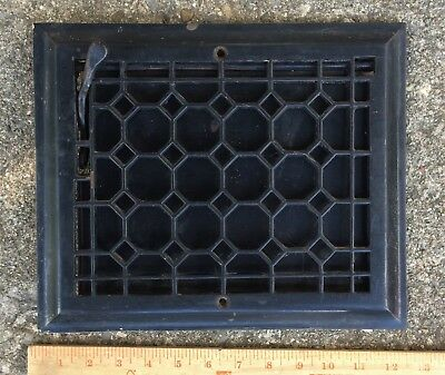 ANTIQUE CAST METAL BEVELED TOP WALL GRATE HEAT AIR VENT REGISTER w DAMPER 8x10