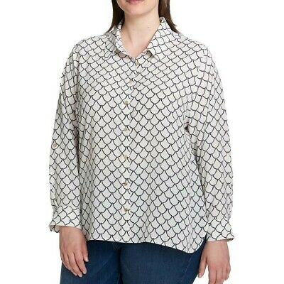 TOMMY HILFIGER NEW Women's Plus Size Printed Button Down Shirt Top TEDO
